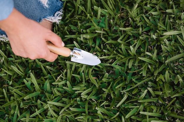 Crop main creuse de l'herbe