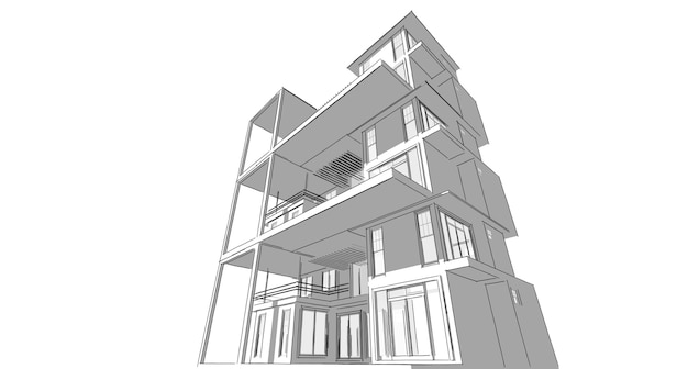Croquis abstrait, architectural, construction, wireframe