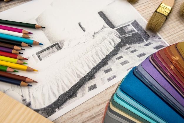 Croquis d'appartement concept design d'intérieur avec palette de couleurs et outils