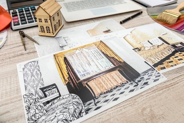 Croquis d & # 39; appartement avec palette de couleurs et outils