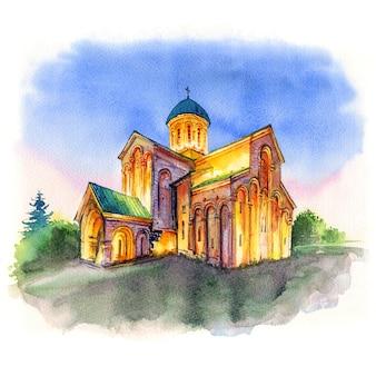 Croquis aquarelle de la cathédrale de koutaïssi, la cathédrale de bagrati à koutaïssi, imereti, géorgie
