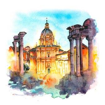Croquis à l'aquarelle du forum romain, rome, italie