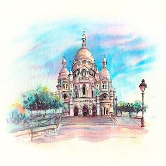 Croquis aquarelle du sacré-coeur, paris, france