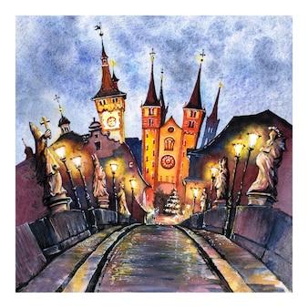 Croquis à l'aquarelle du vieux pont principal à wurzburg, franconie, bavière du nord, allemagne