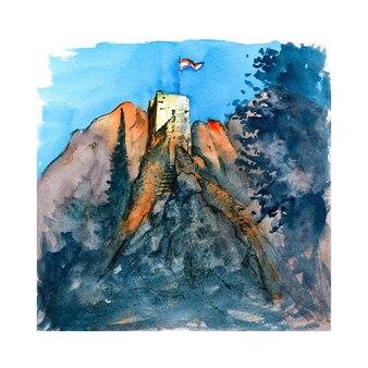 Croquis à l'aquarelle de la forteresse de mirabella ou de peovica à omis, ville touristique très populaire en croatie au coucher du soleil