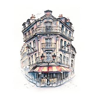 Croquis à l'aquarelle d'une maison parisienne typique avec café et lanternes, paris, france.