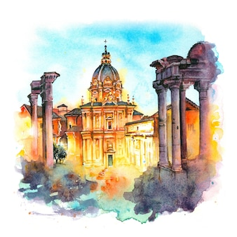 Croquis à l'aquarelle des ruines antiques d'un forum romain ou foro romano au lever du soleil à rome