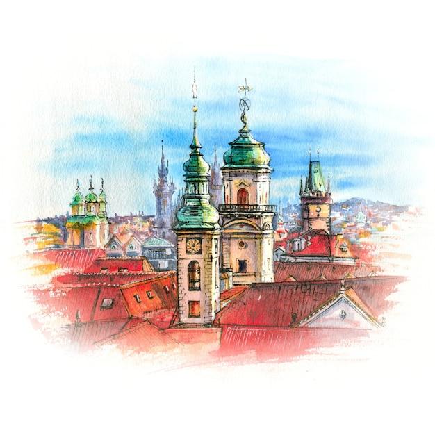 Croquis à l'aquarelle de la vieille ville de prague avec des dômes d'églises, clocher de l'ancien hôtel de ville, tour poudrière, république tchèque