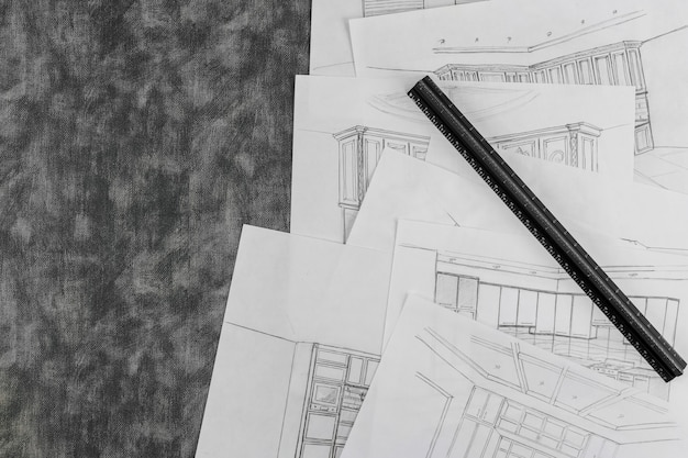 Croquis d'architecte d'intérieur d'une cuisine dans un processus de dessin de projets de design d'intérieur