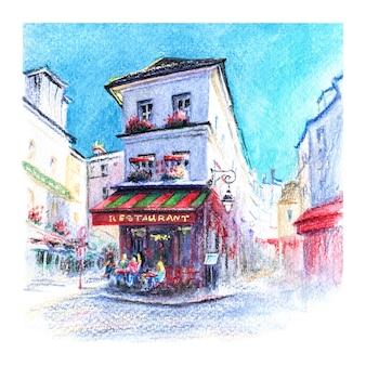 Croquis de crayons aquarellés du restaurant parisien typique sur montmartre paris france