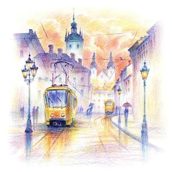 Croquis de crayons coplored de la place rynok pluvieuse dans la vieille ville de lviv au lever du soleil, en ukraine.