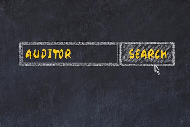 Croquis du tableau de craie du moteur de recherche. concept de recherche d'auditeur