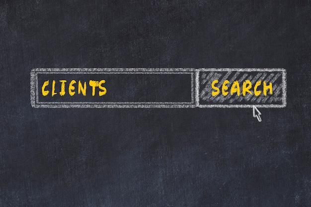 Croquis du tableau de craie du moteur de recherche. concept de recherche de clients