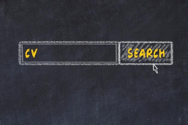 Croquis du tableau de craie du moteur de recherche. concept de recherche de cv