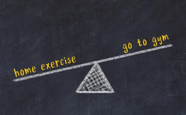 Croquis du tableau de craie des échelles. concept d'équilibre entre aller à la gym et à la maison