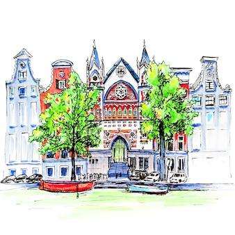 Croquis de marqueur du canal d'amsterdam, des maisons et de l'église