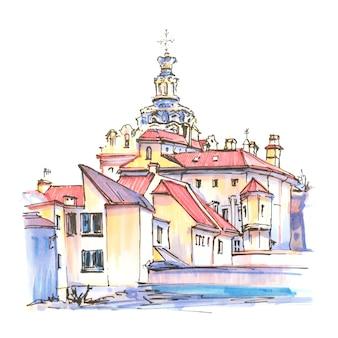 Croquis de marqueur de la vieille ville de vilnius, lituanie.