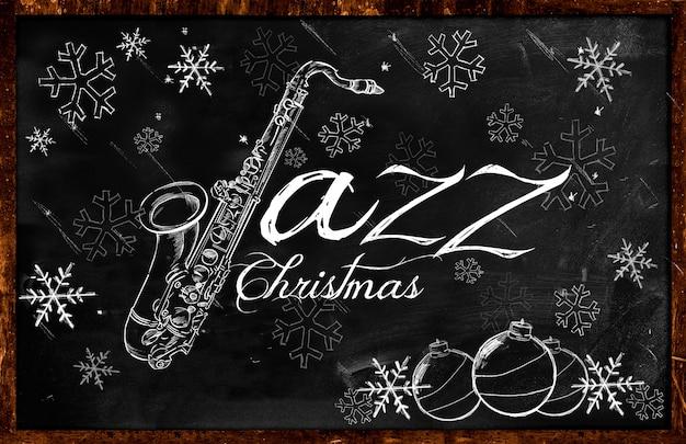 Croquis de noël jazz saxophone sur tableau noir