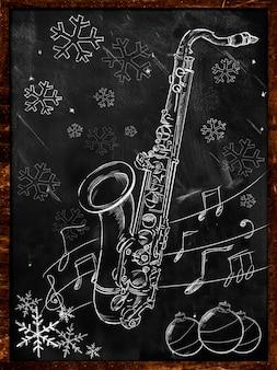 Croquis de noël saxophone sur tableau noir