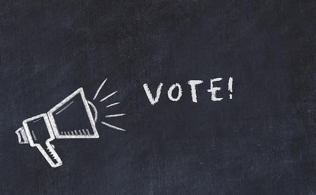 Croquis de tableau craie avec haut-parleur et vote de phrase