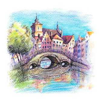 Croquis urbain du canal de bruges avec pont et belles maisons médiévales au coucher du soleil en belgique dessin aux crayons aquarellés