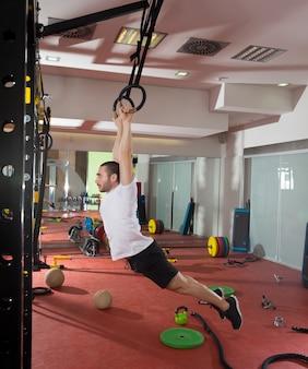 Crossfit fitness dip ring swing exercice homme entraînement