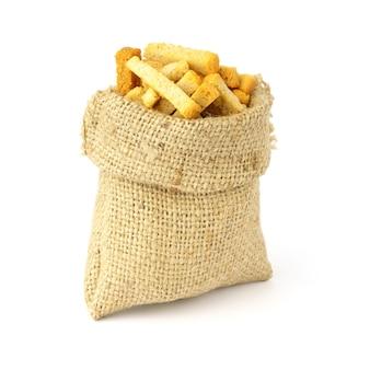 Croûtons dans un sac isolé. stockage du pain