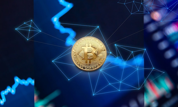 Crypto-monnaie bitcoin. graphique de croissance des pièces bitcoin sur l'échange, graphique