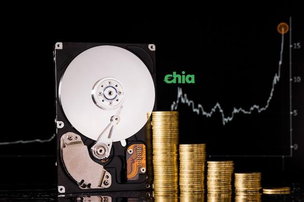 Crypto-monnaie chia et serveur de disque dur pour l'exploitation minière. nouveau concept d'argent virtuel chiacoin de devise crypto sur mur noir.