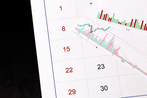 Crypto-monnaie. pièce de monnaie bitcoin sur un graphique et un calendrier boursiers.