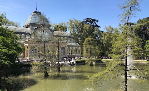 Le crystal palace est une structure en métal et en verre située dans le parc du retiro à madrid