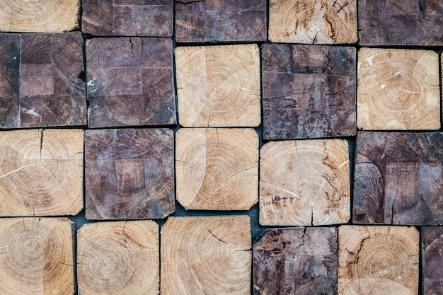 Cube de bois pile pile mur texture fond