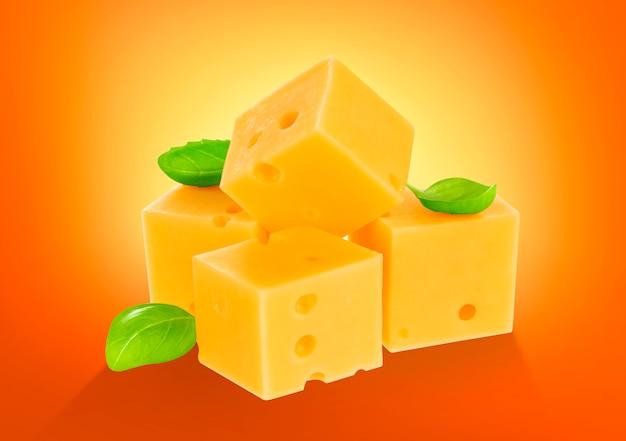 Cube de fromage isolé. avec un tracé de détourage.