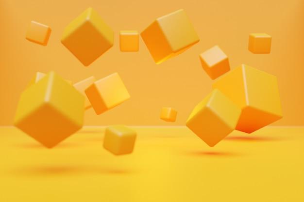 Cube jaune volumétrique d'illustration 3d sur un fond monophonique géométrique. motif de parallélogramme. fond de néon de la géométrie de la technologie