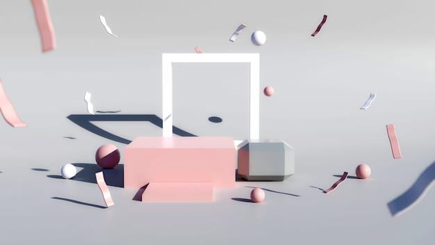 Cube podiums ou affichage sur fond gris. scène minimale abstraite avec géométrique. concevoir un espace vide.