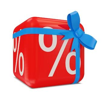 Cube de réduction de vente rouge avec noeud bleu