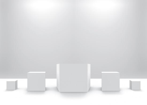 Cube simple carré blanc de petite à grande rangée