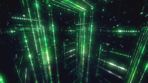 Cube tournant avec code machine hexadécimal résumé historique technologique illustration 3d