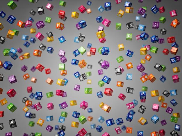 Cubes 3d icônes pluie