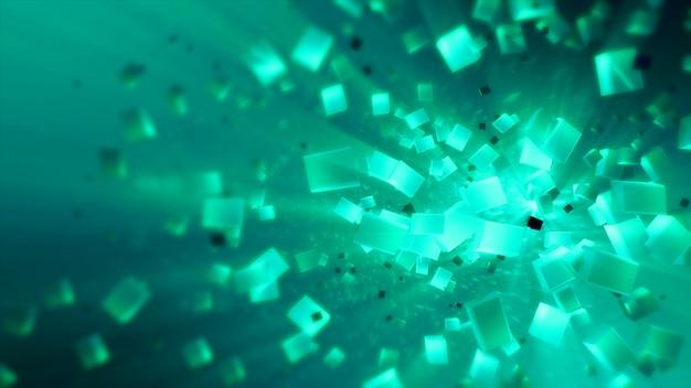Cubes abstraits colorés dans la texture de l'espace isolé illustration 3d