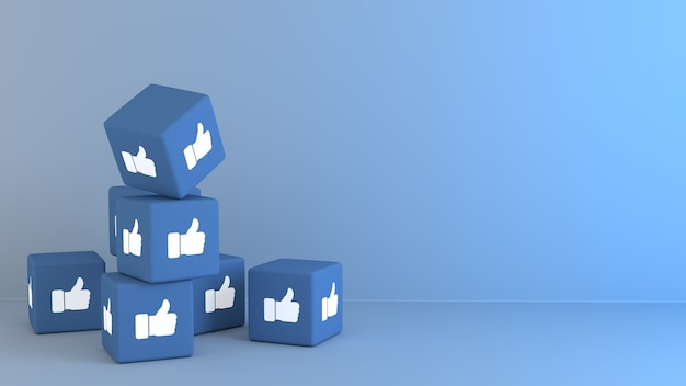 Cubes bleus 3d avec facbook comme la réaction emoji