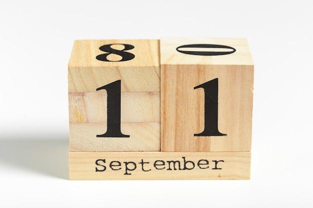 Cubes en bois avec date 11 septembre