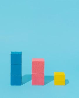 Cubes en bois avec espace copie