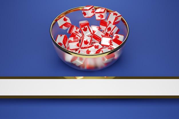 Cubes colorés avec une photo d'un drapeau canada en grande assiette