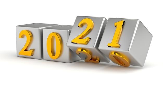 Cubes de concept de nouvel an avec numéro de remplacement