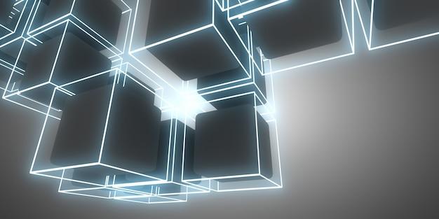 Cubes de fond abstrait 3d avec néons