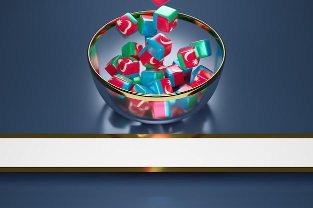 Cubes avec l'image du drapeau national de l'azerbaïdjan