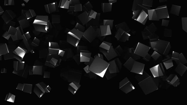 Cubes de métal volants sur fond noir abstrait avec des cubes en chute