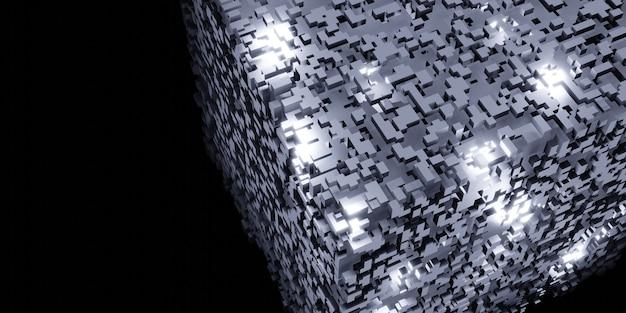 Cubes pixels rubiks cube isométrique abstrait géométrique concept de données numériques structure complexe 3d