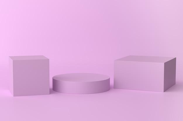 Cubes violets et support en forme de cylindre ou piédestal pour les produits. rendu 3d